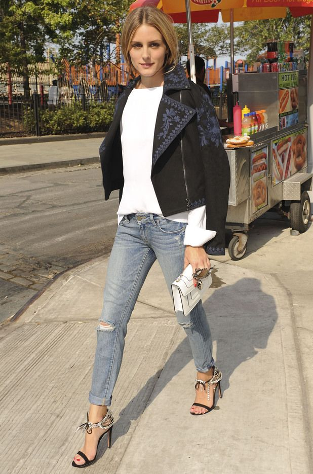 Olivia Palermo wears ripped jeans while out in Brooklyn, New York - 24 August 2014