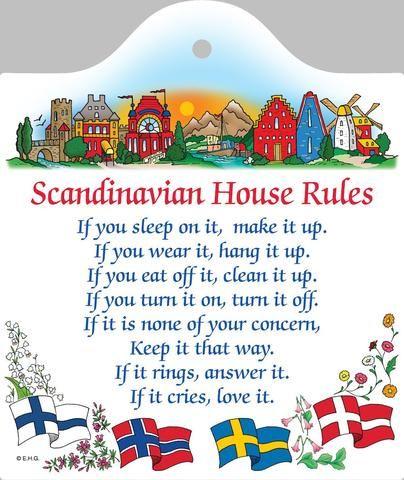 Swedish Gift Wall Tile Scandinavian House Rules Scandinavian Gift Swedish Gift Norwegian Gift