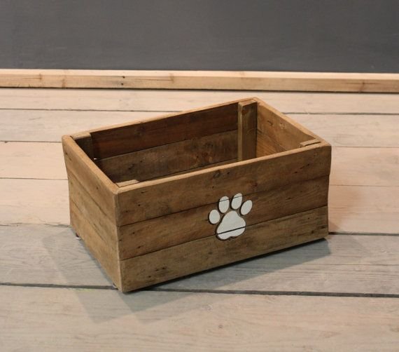 Dog Toy Box Cat Pet Toybox Storage Hand Crafted Wooden Toy