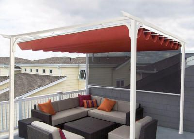 Pergola Retractable Awning Manual Or Motorized Operation