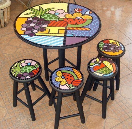 Conjunto de mesa em mosaico, cesta de frutas, com 4 bancos:   vitral ...