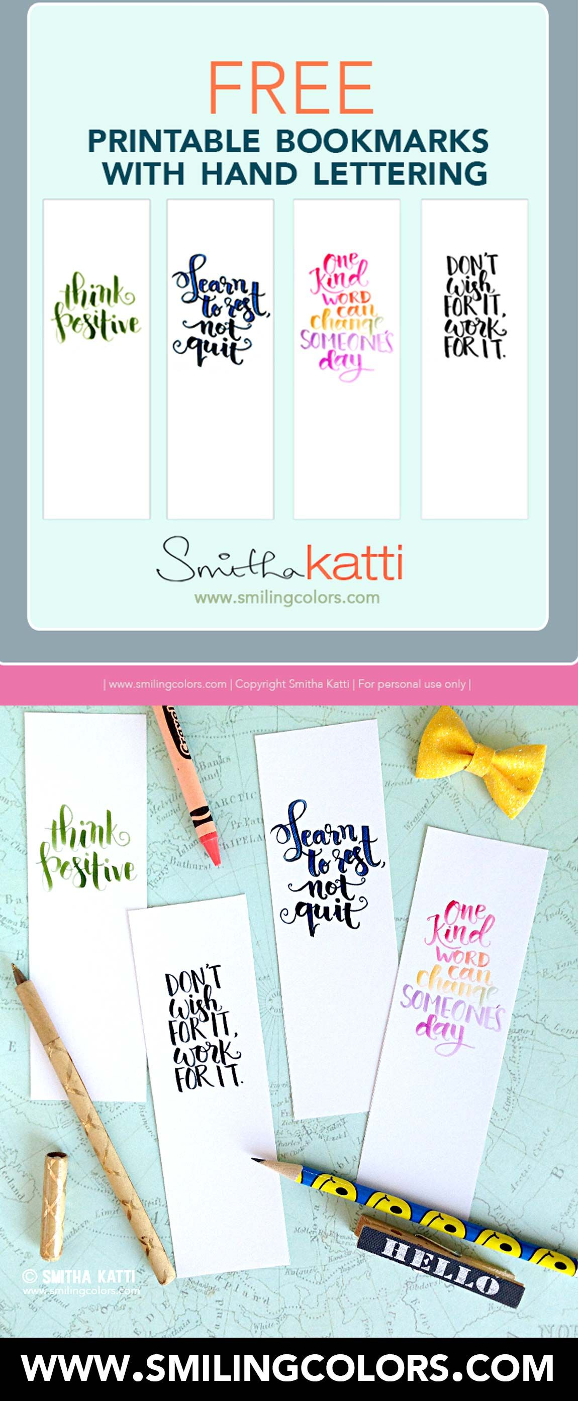 free printable bookmarks with quotes download perfect for your planner or novel handlettered by