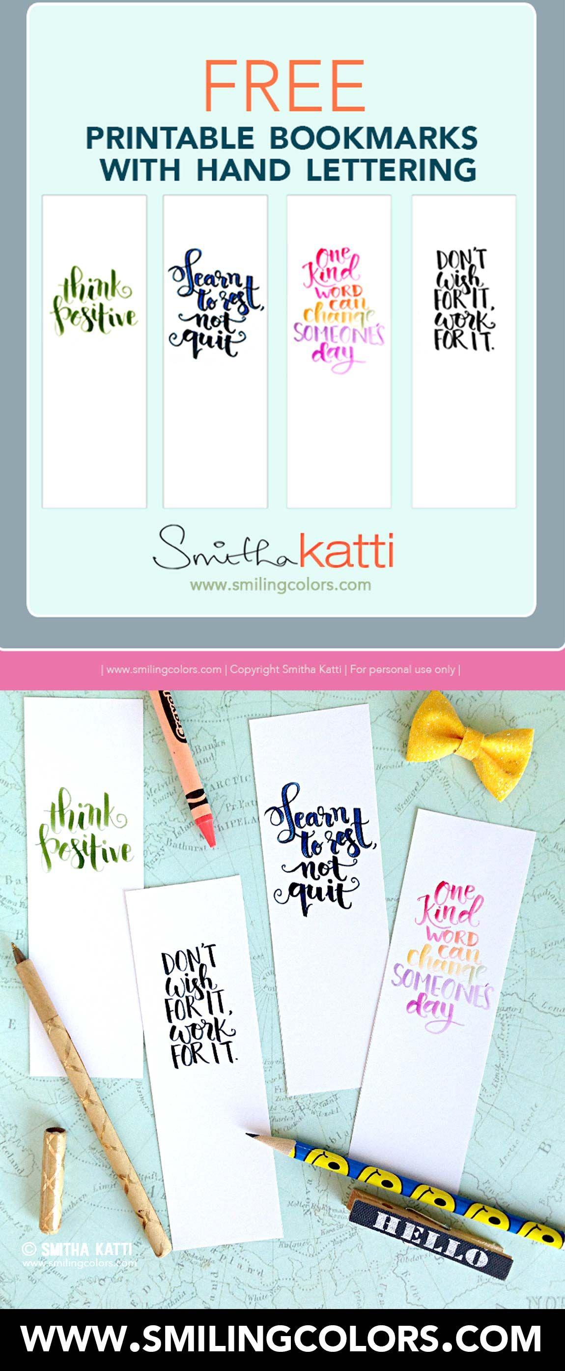 Printable bookmarks with hand lettering | Lesezeichen, Zeichnen und ...