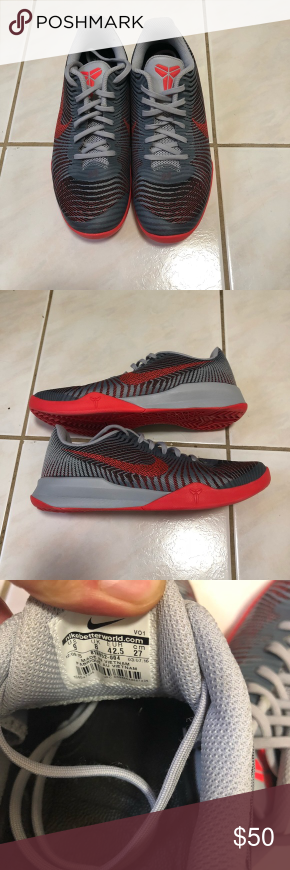 b13a1840298 Brand New Nike Kobe Mentality 2 basketball shoes Gray with hints of  infrared Kobe mentality 2 Shoes. Good affordable basketball sneaker.