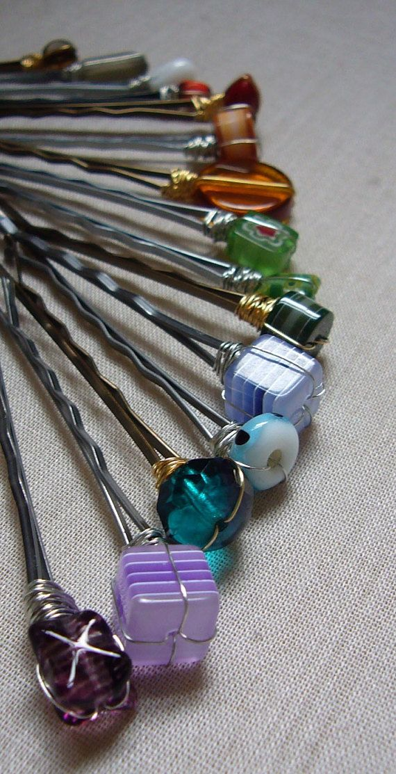 Variety Pack of Bobby Pins Lot of 4 Vintage Jewelry Hair Clips Bobby Pin Blue Colors Upcycled Jewelry Gift for Her Boho
