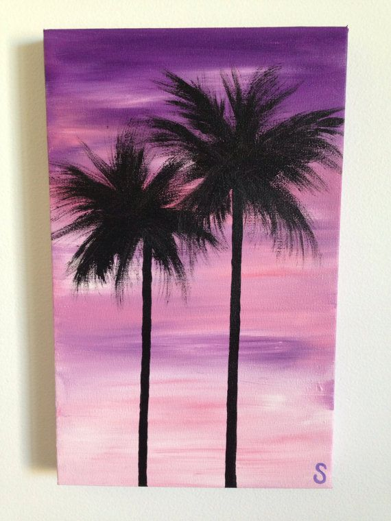 Sam mcaleese purple palms original handpainted acrylic for Pinterest home painting ideas