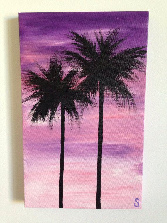 Purple Palms Original Handpainted Acrylic Painting On Canvas Simple Paintings Art Oil