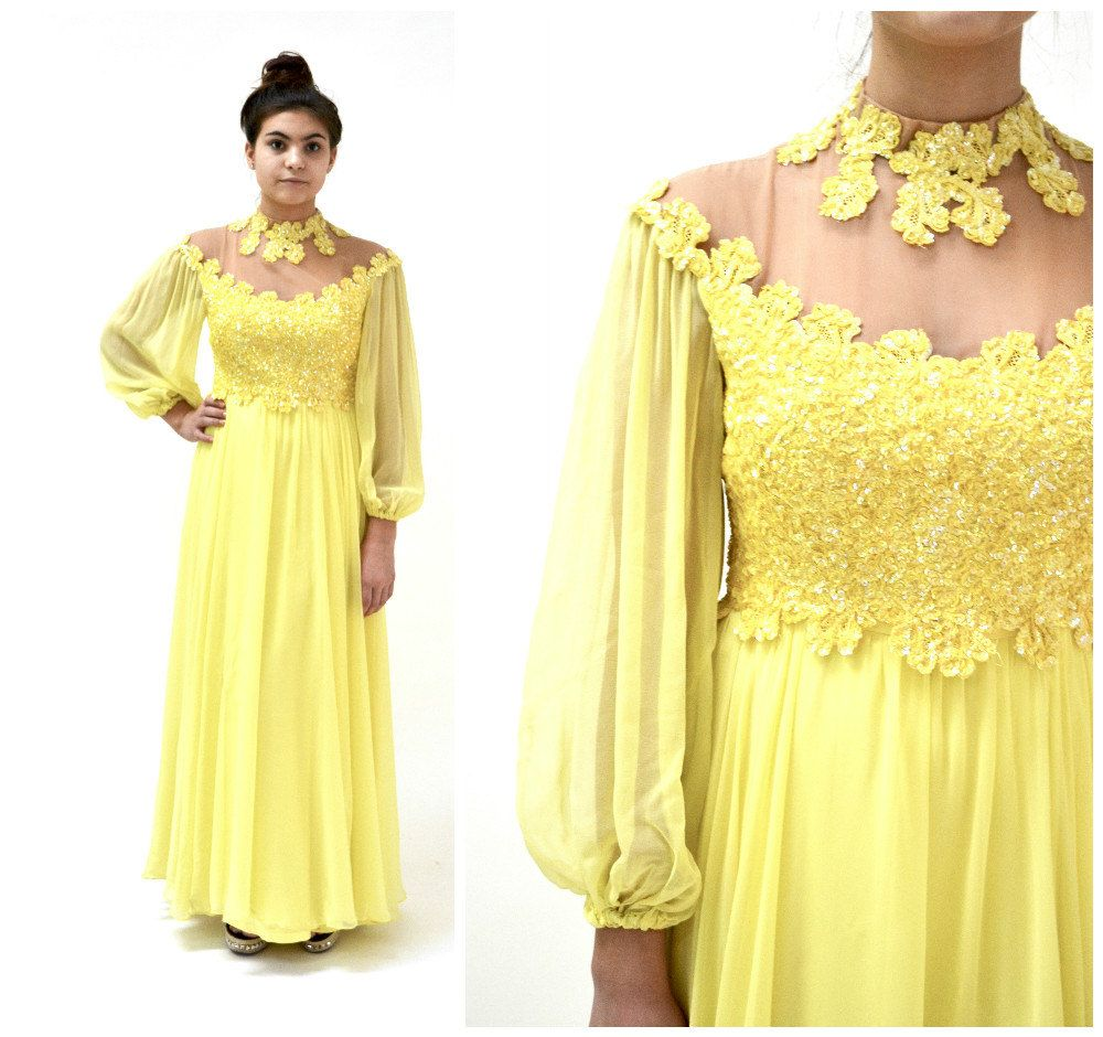 70s Vintage Sequin Evening Gown Yellow Dress Small Medium By Mike ...