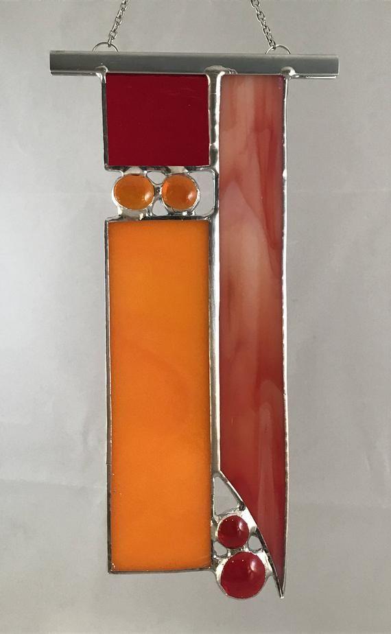 Unique Stained Glass Suncatcher Panel - Orange/Red ...
