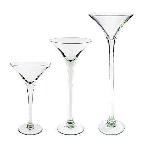 Home Decoration Handmade Set Of 3 Tall Martini Glass Vases