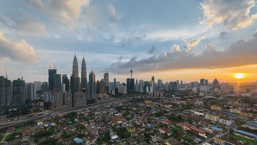 Time Lapse Kuala Lumpur City View During Dawn Overlooking The City Skyline Tilt Down Motion Timelapse Time Lapse 2 Kuala Lumpur City Video Footage Sto