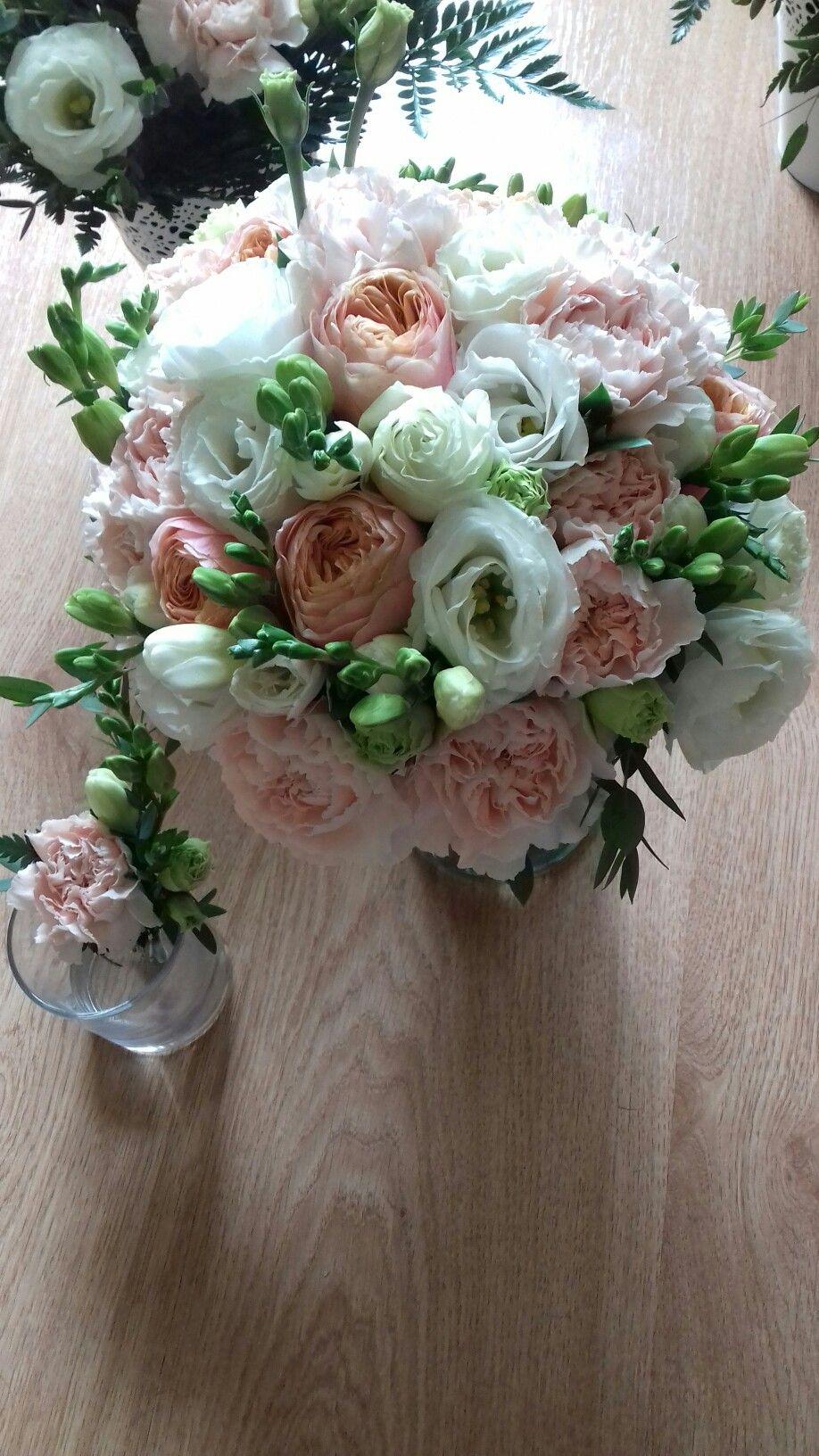 Romantyczny Bukiet Slubny Frezja Eustoma Gozdzik Roza Floral Wedding Flowers