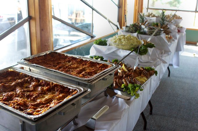 square table decorations for reception food | The buffet table ...
