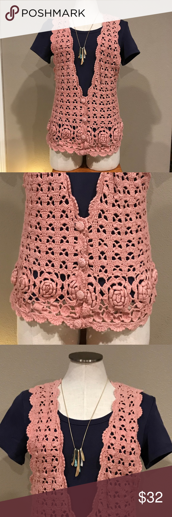One step up rose pink crocheted sweater vest my posh closet