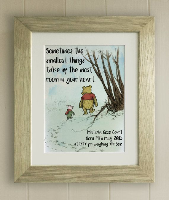 Framed Personalised Winnie The Pooh Quote Print Birth Ffions Room