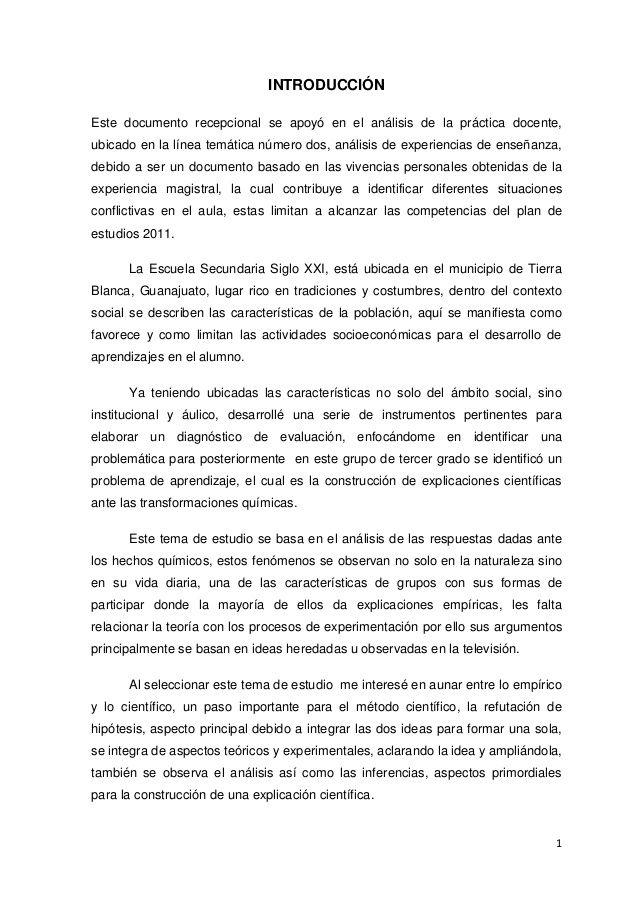 1 INTRODUCCIÓN Este documento recepcional se apoyó en el análisis de la práctica docente, ubicado en la línea temática núm...