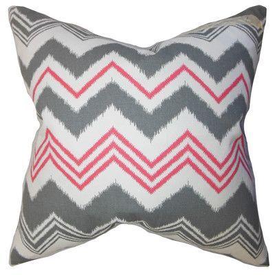 The Pillow Collection Quirindi Zigzag Bedding Sham Size: Standard, Color: Gray/Flamingo