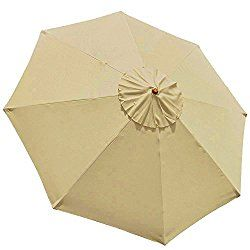 EliteShade 9ft Patio Umbrella Replacement Market Table Outdoor Umbrella  Canopy 8 Ribs (Khaki 6
