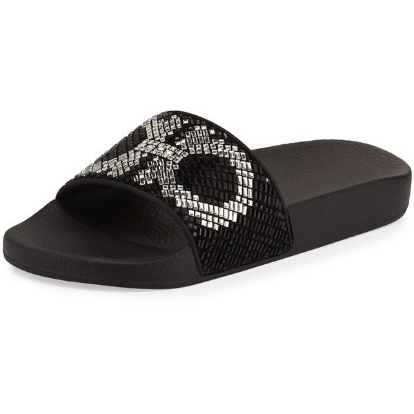 463d9cf9992a27 Salvatore Ferragamo Groove Gancini Flat Slide Sandal ( 525) ❤ liked on  Polyvore featuring shoes