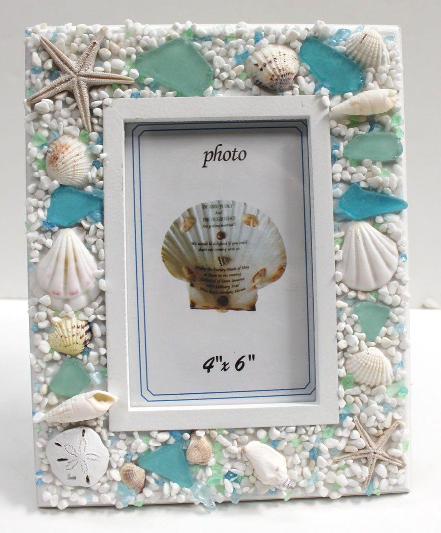 Sea Glass 4 x 6 Picture Frame | Beach decor | Pinterest
