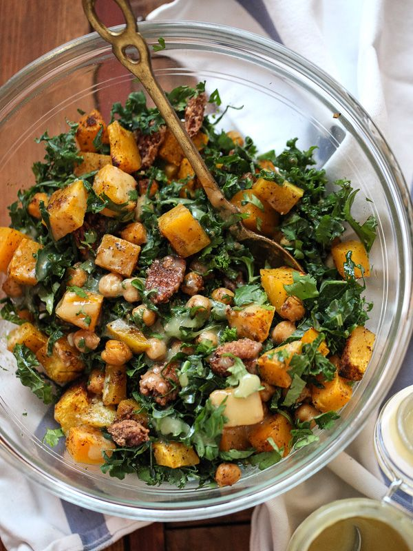 Kale Salad With Butternut Squash Chickpeas And Tahini