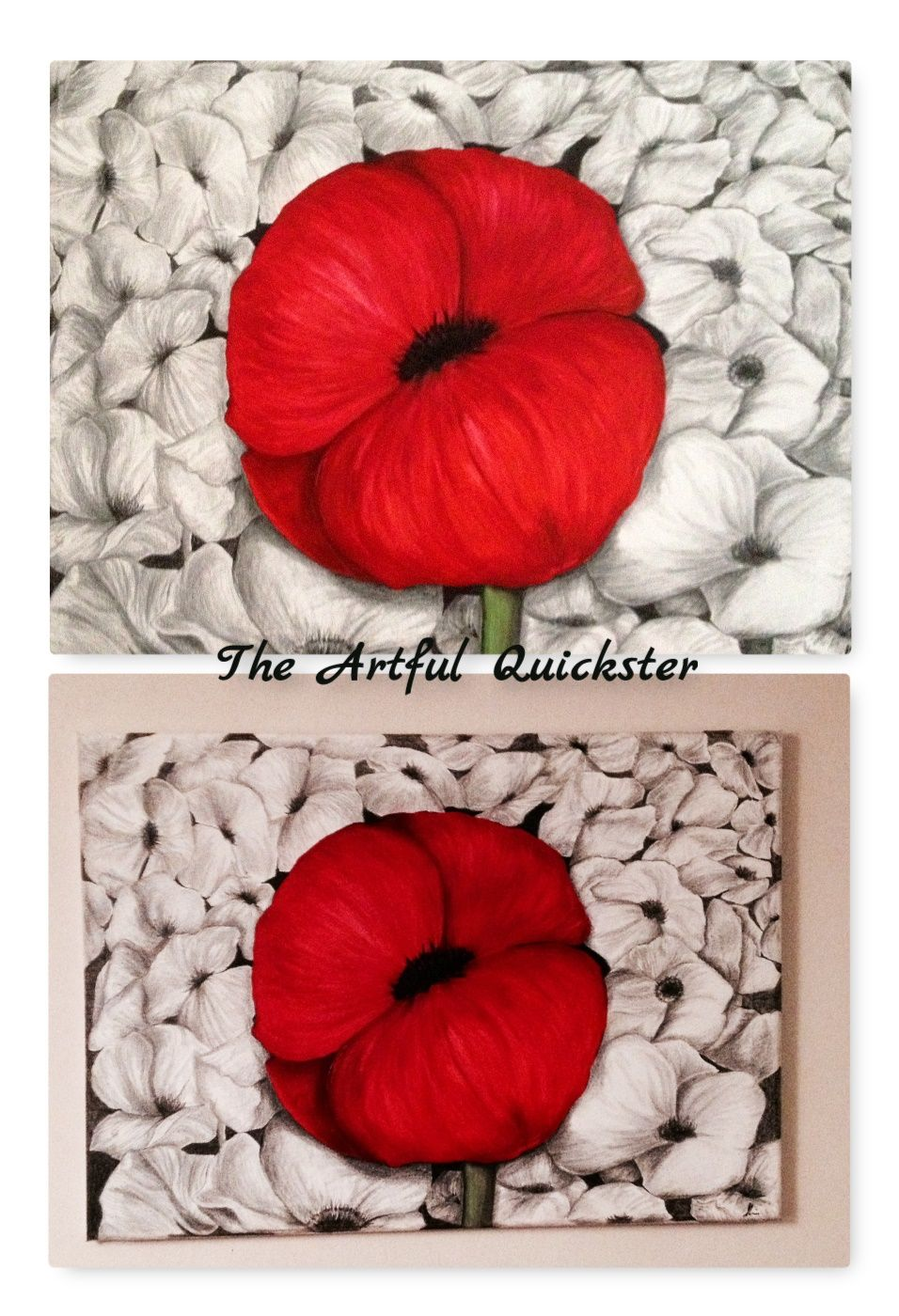 Poppy art large block canvas used acrylic paint and pencil to