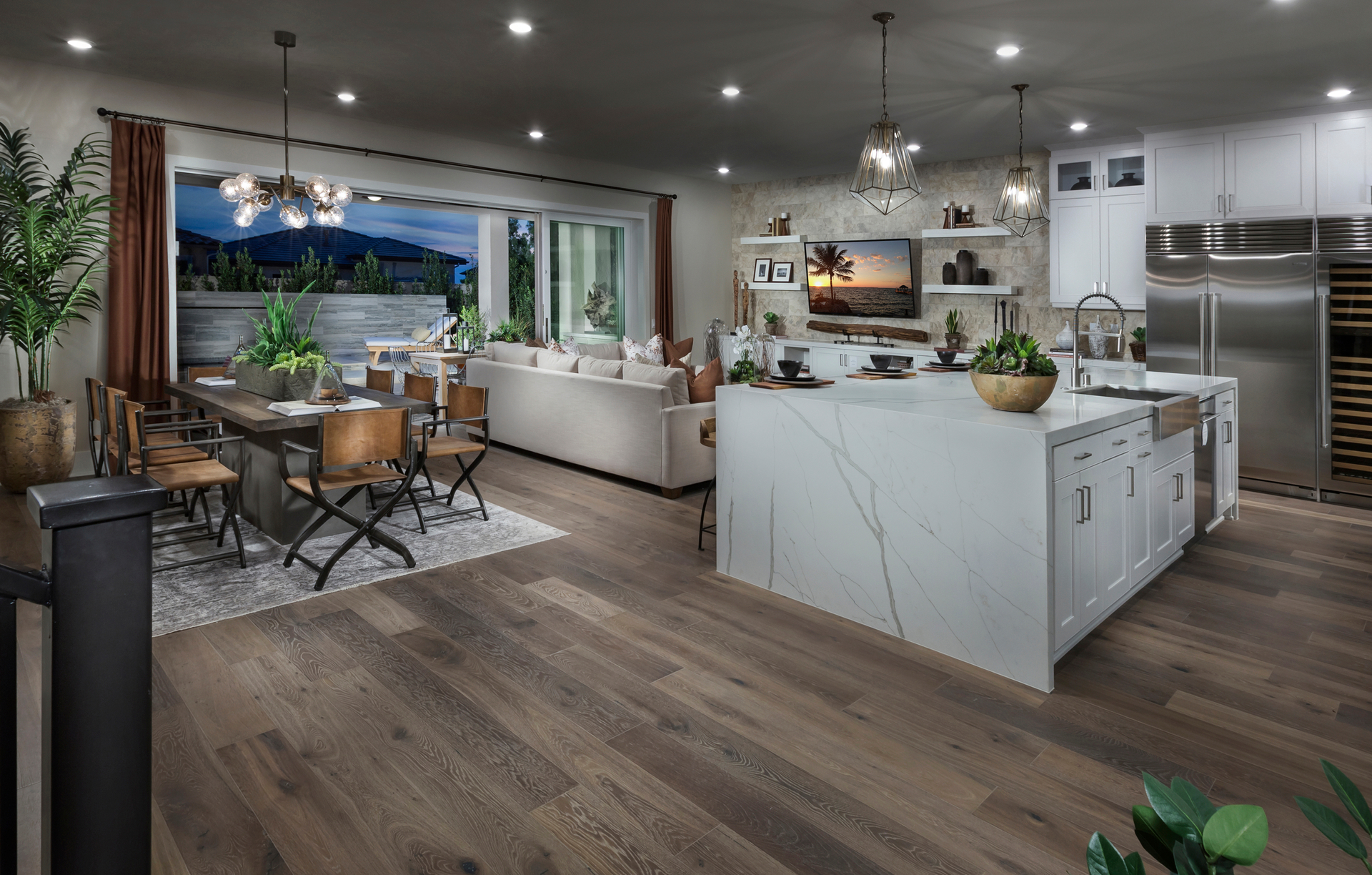 A waterfall countertop can easily become the statement piece of your kitchen, without overwhelming the space. What do you think of this trend: