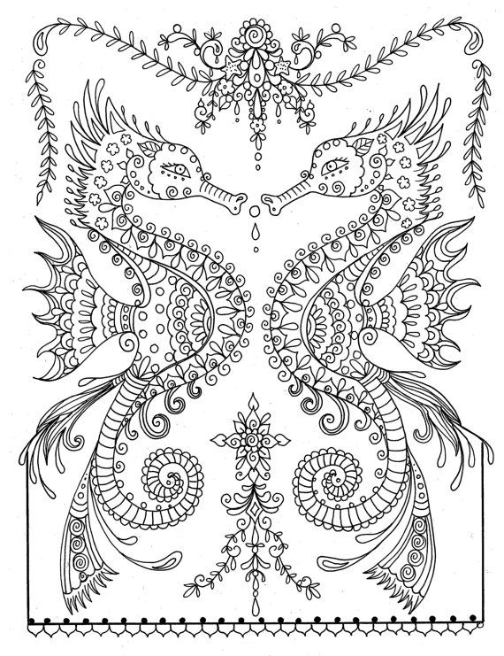Printable Sea Horse Coloring Page Instant Download Adult Coloring ...