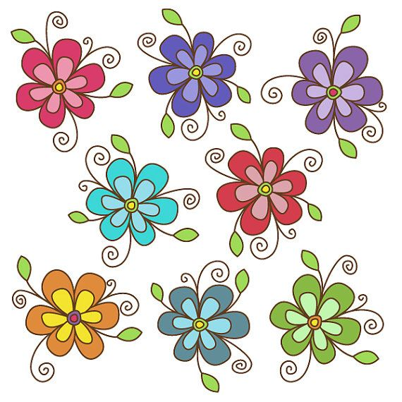 Flower Clipart Set Great For Scrapbooking Cardmaking And Paper Crafts Clip Art Doodle Art Flowers Flower Clipart