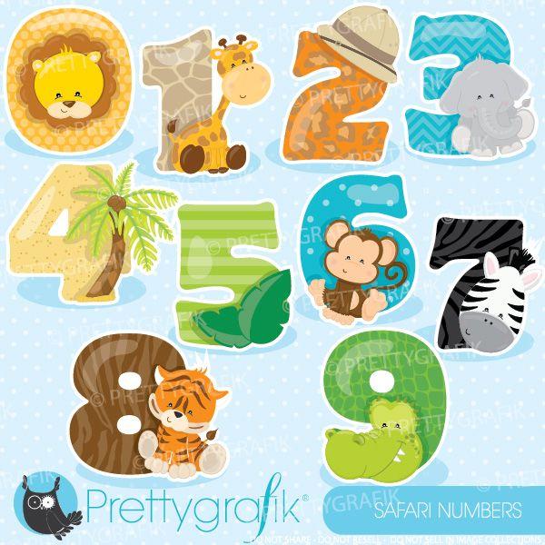Safari Animal Numbers Clipart