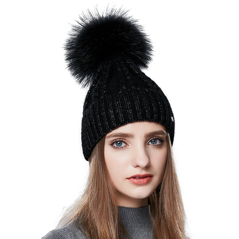 Womens Winter Beanie Hat with Real Fur Pom Pom Knit Beanies Wool Warm Ski  Caps - Black - CF185QQWD2Y - Hats   Caps cf5a8fb05