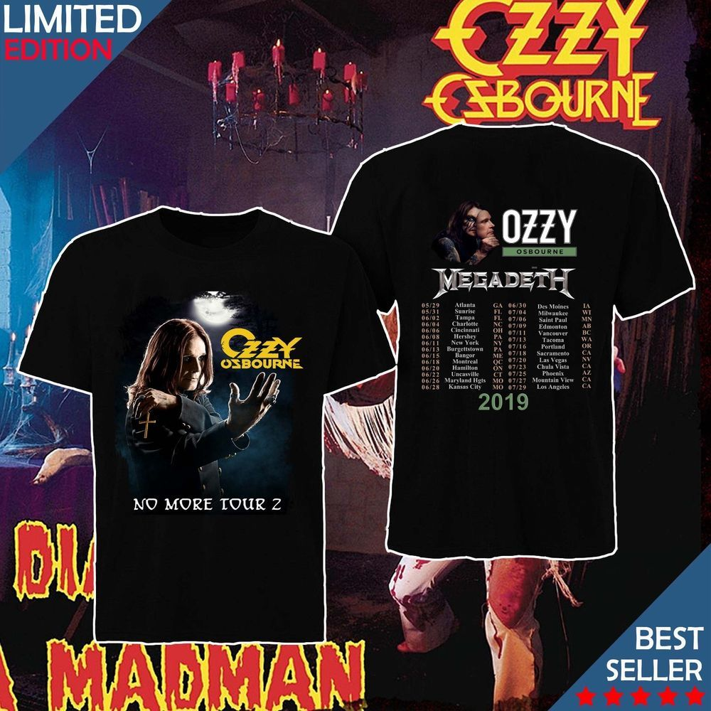 b99f3ee4052211 OZZY OSBOURNE with MEGADETH NO MORE TOUR 2 2019 Men Shirt M-3XL  fashion