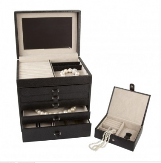 Rowallan Jewelry Trunk This leather fivedrawer chest is the