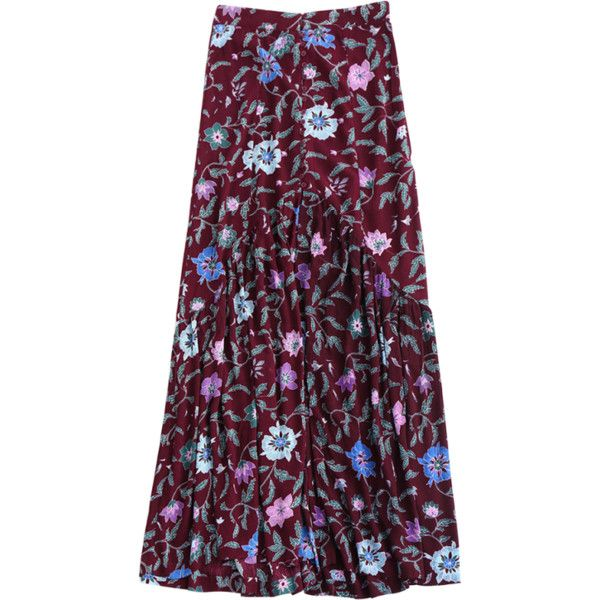 Maxi Buttoned Slit Floral Skirt ($27) ❤ liked on Polyvore featuring skirts, floral print skirt, floral print long skirt, long purple skirt, purple maxi skirt and long slit maxi skirt