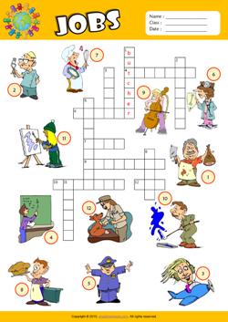 jobs crossword puzzle esl vocabulary worksheet crosswords english worksheets for kids. Black Bedroom Furniture Sets. Home Design Ideas