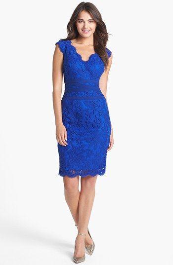e06d50e1 Tadashi Shoji Lace & Tulle Sheath Dress (Regular & Petite) available at  #Nordstrom - Cantaloupe Color