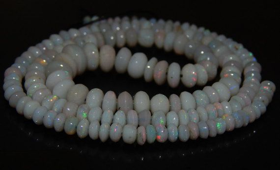 "17""Inches Gemstone Australian Opal Smooth Beads Multy Fire Rondelle Shape 3x8 mm…"