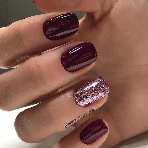 Burgundy And Glitter Nail Art Design Nails Naildesigns