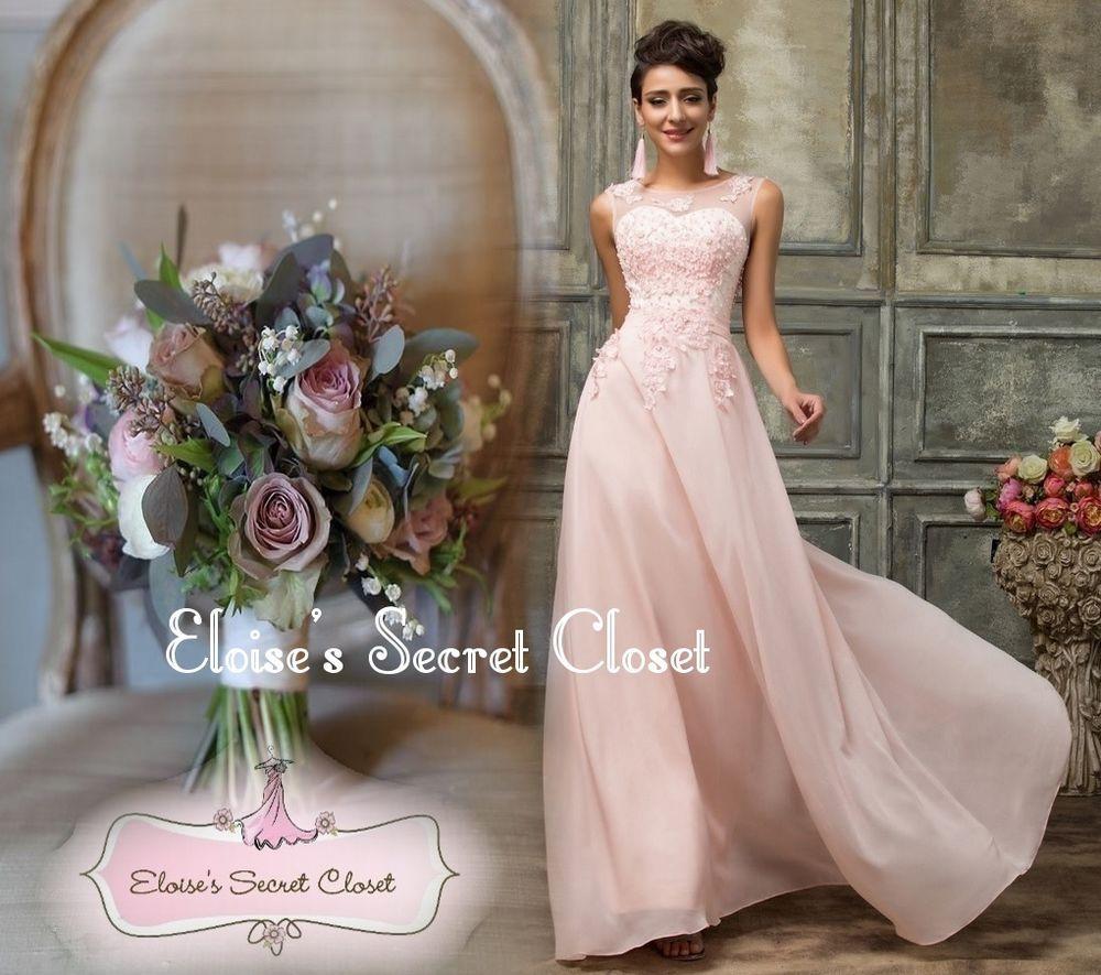 Adele pale pink lace beaded prom evening cruise bridesmaid dress uk