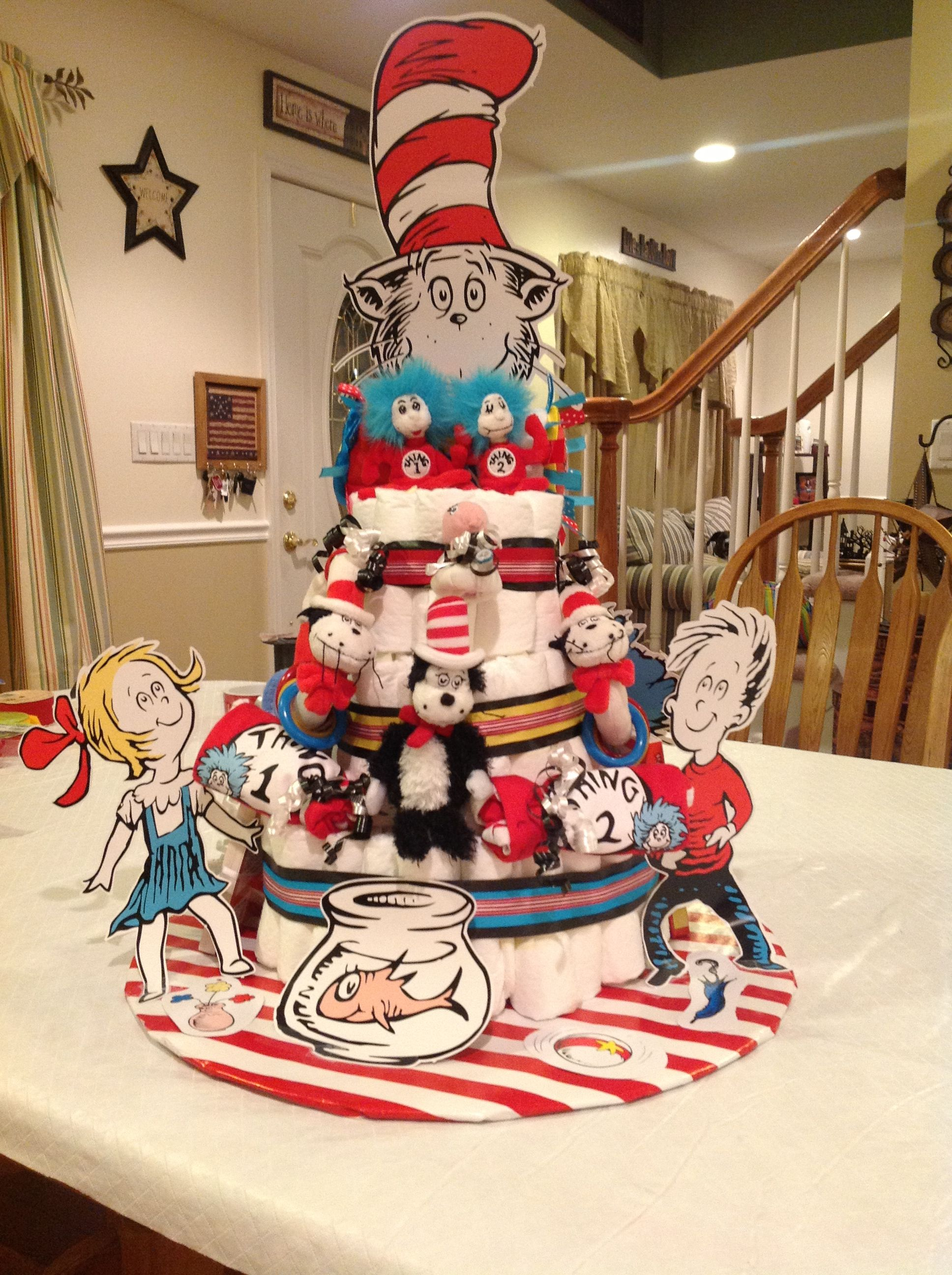 Diaper Cake Dr Seuss Thing 1 And Thing 2 Themed For A Twin Baby