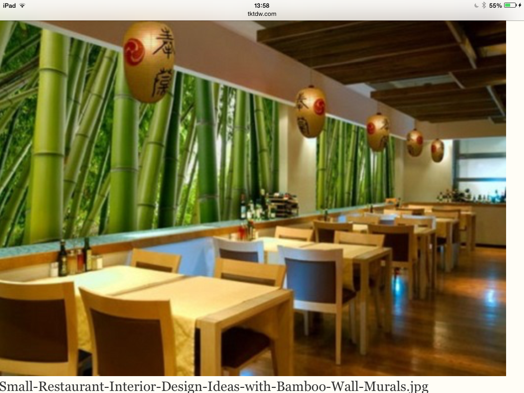 Small restaurant interior design ideas with bamboo wall murals