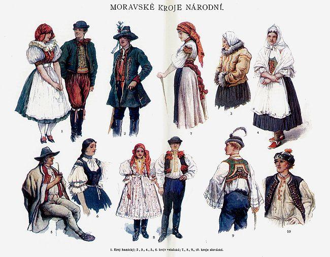 Moravian national costumes - Ottův slovník naučný 2.-6. Valašsko
