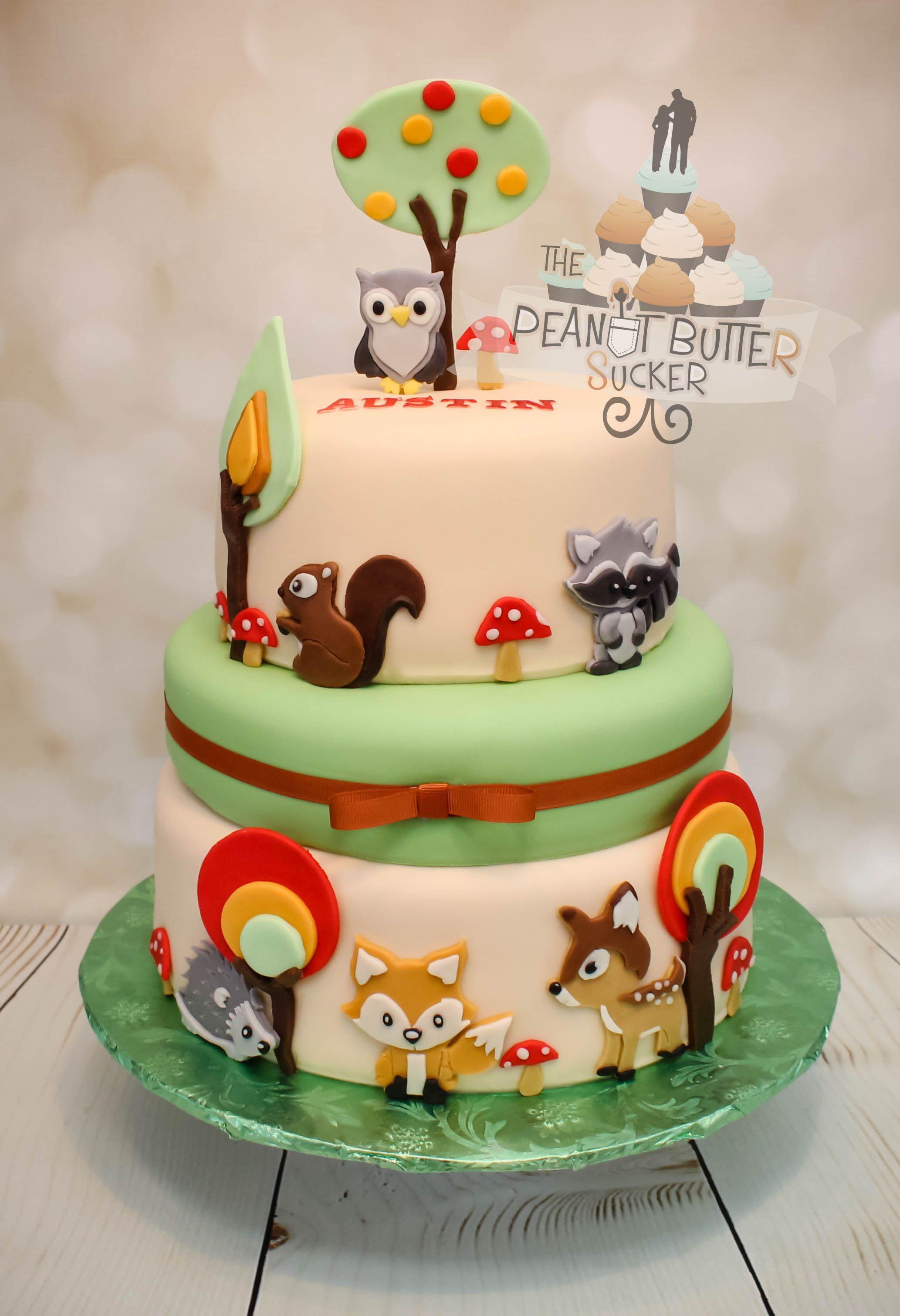 Forest Animals Baby Shower Cake Geburtstagstorte Motivtorte