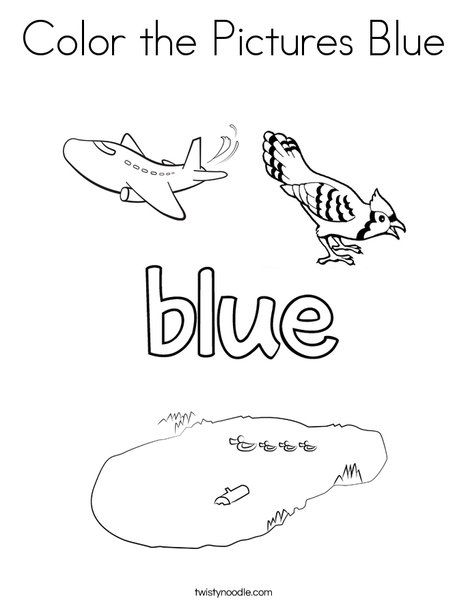 Color The Pictures Blue Coloring Page Twisty Noodle Coloring