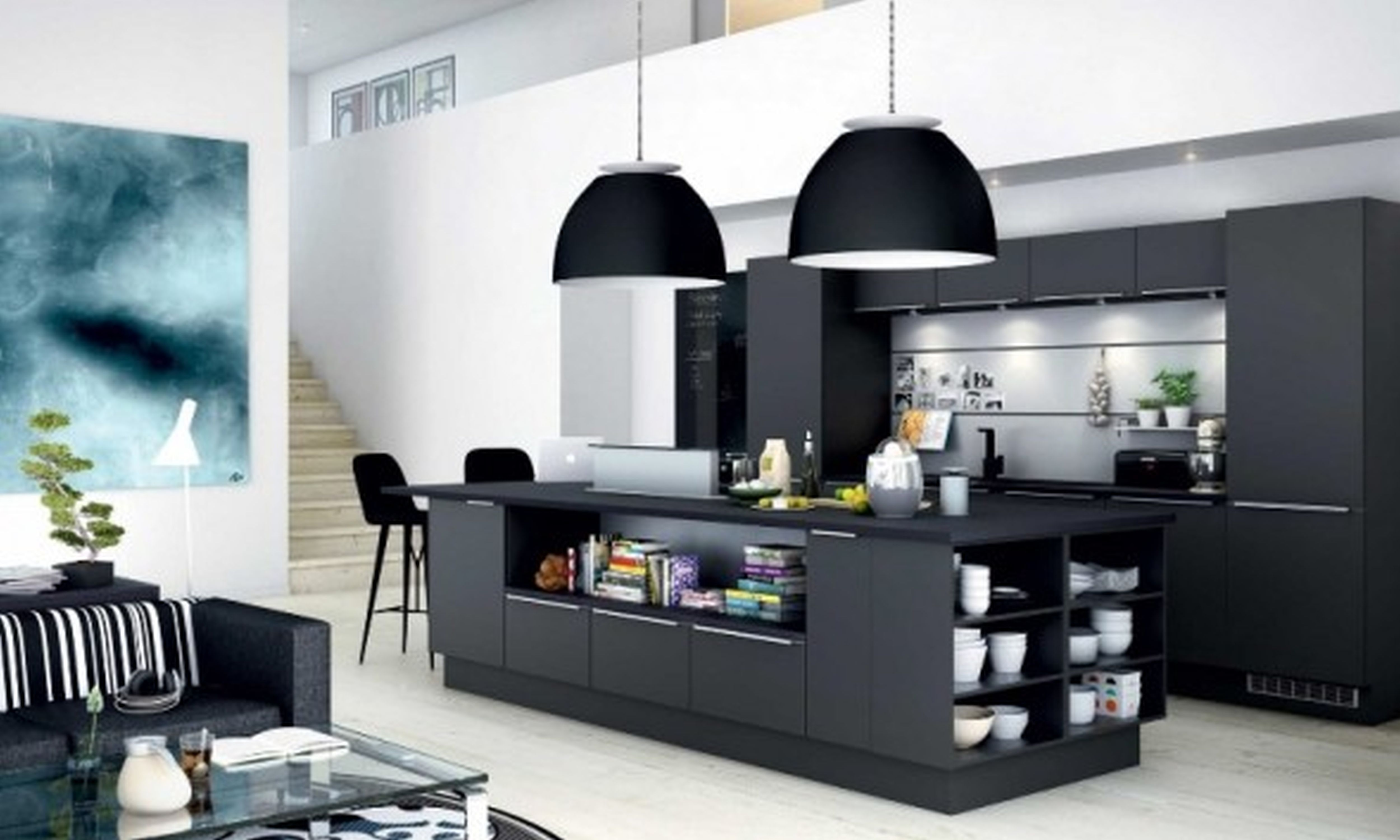 Great Captivating Open Floor Apartment Kitchen Design With Matte Black Kitchen  Cabinets And Island And Countertops Also