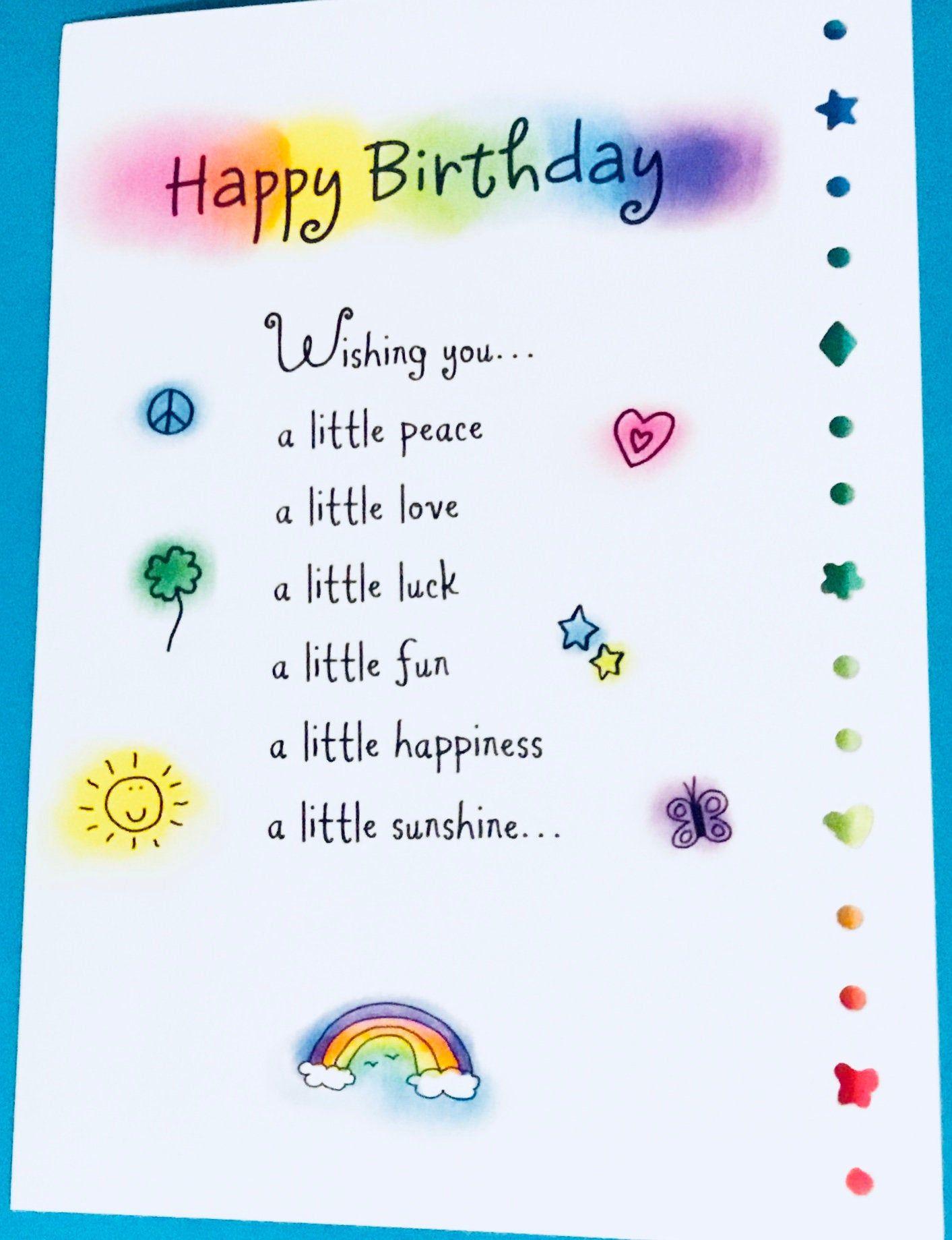 Happy Birthday Poem Greeting Card Bday Card Birthday Poem Gift