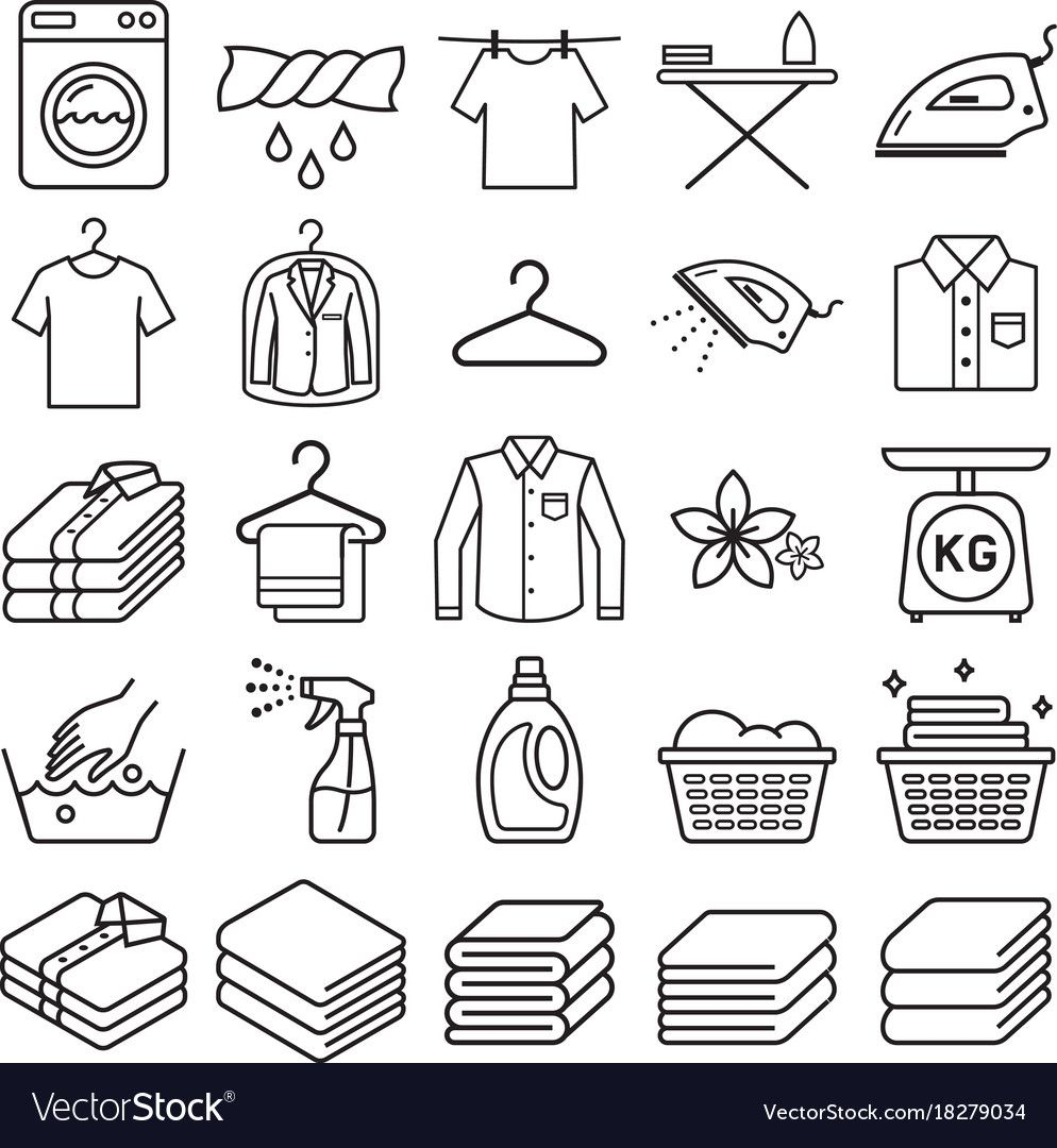 Laundry Service Icons Vector Image On Vectorstock Laundry Icons