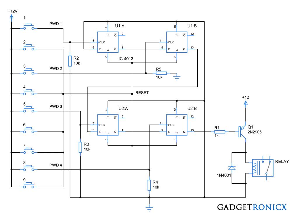 code lock circuit using dual flip flop ic cd4013code lock circuit using flip flop ic cd4013