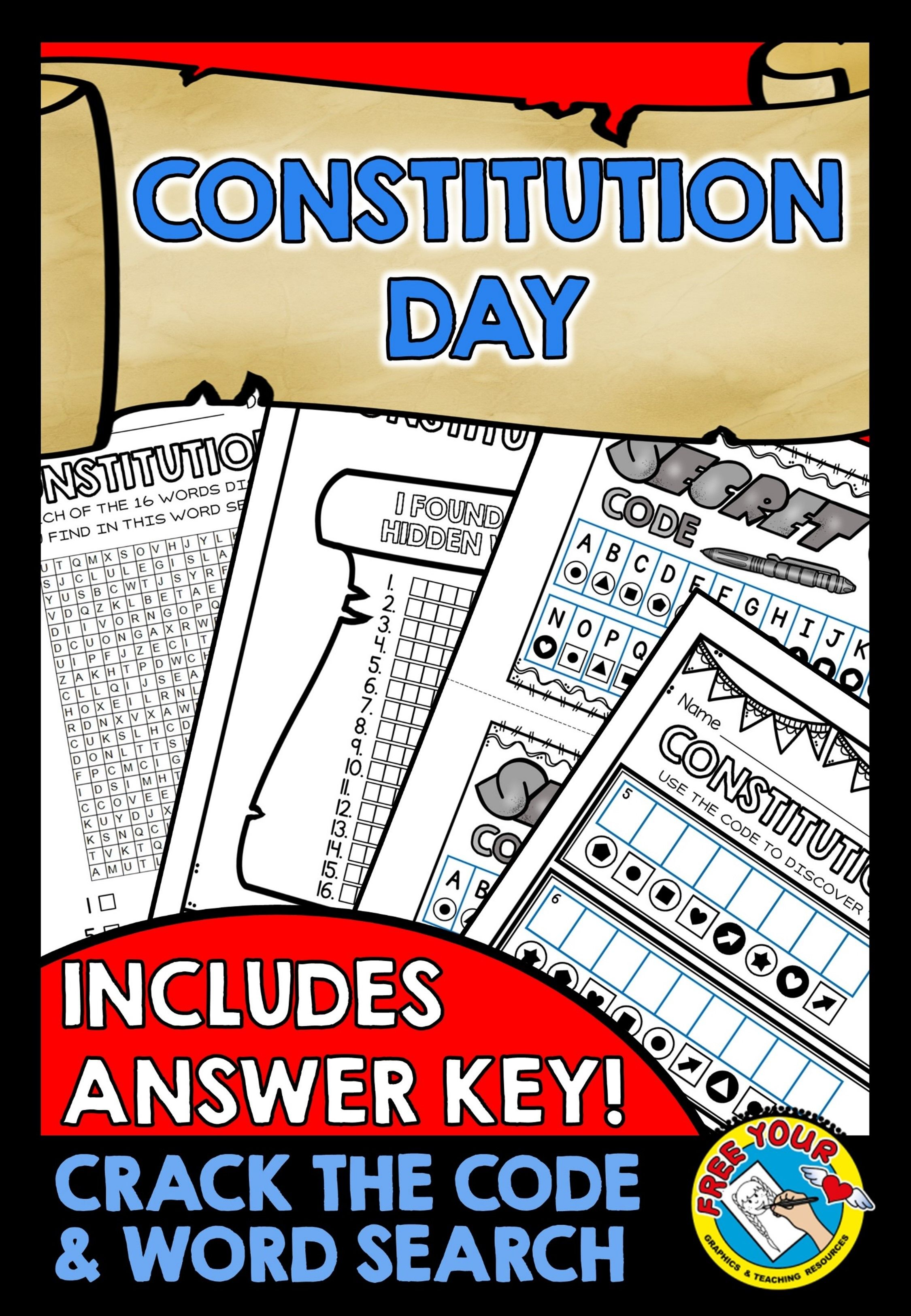 CONSTITUTION DAY PRINTABLES: CONSTITUTION DAY WORD SEARCH + CRACK THE CODE  ACTIVITY ANSWER KEY FOR ALL PAGES INCLUDED! ☆Click To View This Resource! ☆