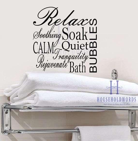 Bathroom Vinyl Wall Decal Words Relax Soak Bath Bubbles Soothing  Tranquility Calm Quiet, Word Collage